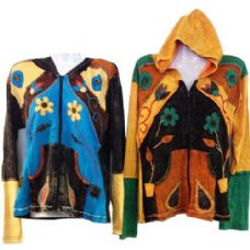 10 Units of Nepal Handmade Cotton Jackets with Hood Flower in a Pot - Womens Active Wear
