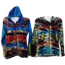 5 Units of Nepal Handmade Cotton Jackets with Hood Fading Colors - Womens Active Wear