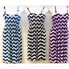 24 Units of Simple Strap Chevron Print Dress Assorted Color - Womens Sundresses & Fashion