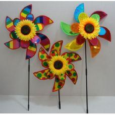 """120 Units of 15"""" Double Petal Wind Spinner w Sunflower [Rainbow Asst] - Garden Decor"""