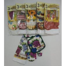 144 Units of 3pc Oven Mitt Pot Holder Dish Towel Combo - Kitchen Items