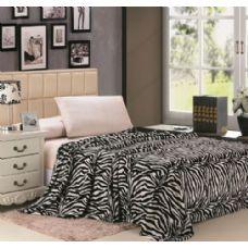 12 Units of zebra black and white microplush animal print blanket in twin - Micro Plush Blankets