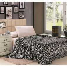 12 Units of zebra black and white microplush animal print blanket in queen - Micro Plush Blankets