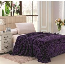 12 Units of zebra purple microplush animal print blanket in queen - Micro Plush Blankets