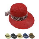 24 Units of WOMANS STRAW SUMMER HAT WITH PRINTED BOW - Sun Hats