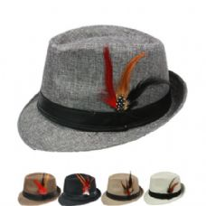 24 Units of PLAIN FEDORA HAT IN ASSORTED COLOR WITH FEATHER - Fedoras, Driver Caps & Visor