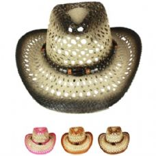 24 Units of CUT OUT OPEN WEAVE COWBOY HAT ASSORTED - Cowboy, Boonie Hat