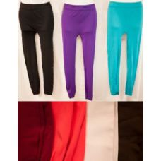 24 Units of Thin Solid Color Legging Assorted Colors - Womens Leggings