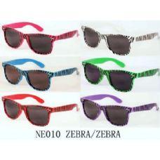 60 Units of Designer Inspired Neon Color Sunglasses Zebra Style