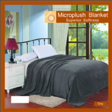 12 Units of Solid gray microplush blanket in queen