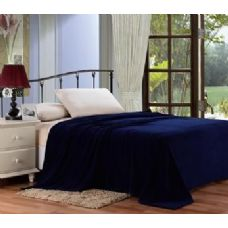 12 Units of solid navy microplush blanket in queen