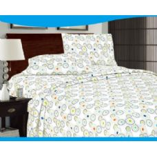 12 Units of jasmine colored sheet sets in bright circles queen size
