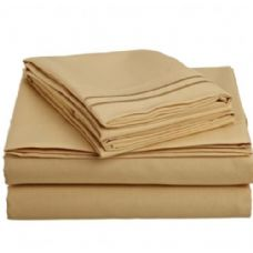 12 Units of 2 line embroidery sheets set solid gold in microfiber queen