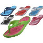 Wholesale 36 Units of Women's Sport Multi Colors Flip Flops