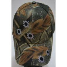 24 Units of Camo Ball Cap Bullet Holes - Hunting Caps