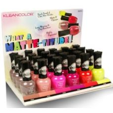96 Units of Klean Color What a MATTE-titude Nail Polish Display