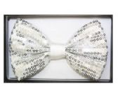 48 Units of BOWTIE 025 SEQUIN WHITE - Wholesale Apparel Accessories
