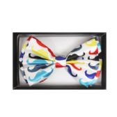 48 Units of White Bow Tie W/ Colorful Mustaches - Wholesale Apparel Accessories