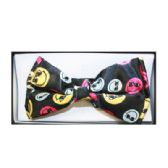 48 Units of Black Bow Tie W/ Colorful Smiley Faces - Wholesale Apparel Accessories