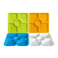 48 Units of 5 Section Square Tray 12.5'' - Tray