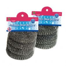 48 Units of 3 Piece Stainless Steel Scourers - Scouring Pads & Sponges