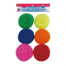 48 Units of 6 Piece Plastic Mesh Scouring Pads - Cleaning Products