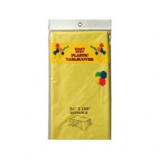 """96 Units of Rect Plastic Table Cover 54""""x108"""" Yellow - Table Cloth"""