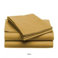 12 Units of 3 piece solid sheet set gold queen size