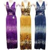 24 Units of Long Summer Dresses V Neck Tie Dye Color Tone