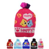 72 Units of KID WINTER HAT HAPPY PRINT - Junior / Kids Winter Hats