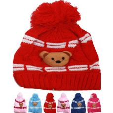 72 Units of KID WINTER HAT WITH TEDDY BEAR ASSORTED COLOR - Junior / Kids Winter Hats
