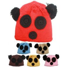 72 Units of KIDS WINTER BEAR FACE HAT - ASSORTED COLORS - Junior / Kids Winter Hats