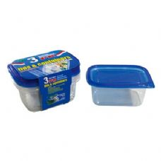 48 Units of 3 Pack Rectangle Container with/Lid 24oz