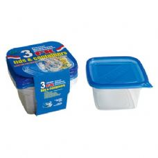 48 Units of 3 Pack Deep Square Container with/Lid 34oz
