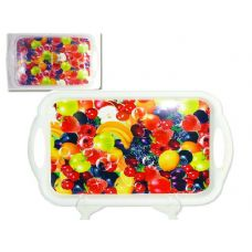 48 Units of rectangle tray fruit design - Plastic Serving Ware