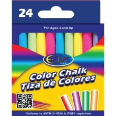 96 Units of Color Chalk Boxed  24 pcs (2 inners of 24) - Chalk,Chalkboards,Crayons