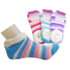 144 Units of SOCK FUZZY 1PK SLIPPERS ASST9X24CM