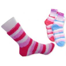 144 Units of Women's Fuzzy Sock With Rubber Buttons
