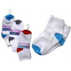 288 Units of SOCKS 3 PAIR BOY'S 2-9RED+BL+GREY - Boys Ankle Sock
