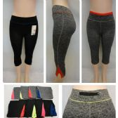 24 Units of Ladies Active Fitness Capris [Zippered Pocket] - Womens Active Wear
