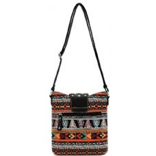12 Units of Multi Color Aztec Print Messenger Bag Black - Leather Purses and Handbags