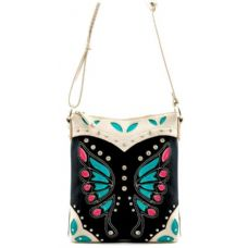 12 Units of Laser Cut Butterfly Pattern Messenger Bag Purse Black - Leather Purses and Handbags