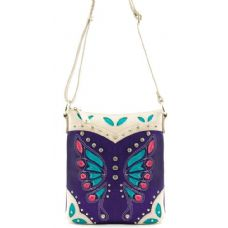 12 Units of Laser Cut Butterfly Pattern Messenger Bag Purse Purple - Leather Purses and Handbags