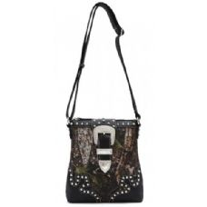 12 Units of Rhinestone Buckle Camo Messenger Bag Purse Black - Leather Purses and Handbags