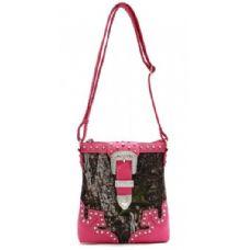 12 Units of Rhinestone Buckle Camo Messenger Bag Purse Fuchsia - Shoulder Bags & Messenger Bags