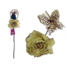 144 Units of Rose Flower With Glitter & Butterfly - Artificial Flowers