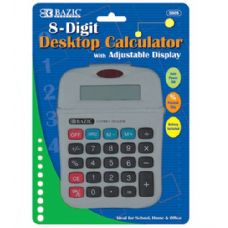 144 Units of BAZIC 8-Digit Calculator w/ Adjustable Display - Calculators
