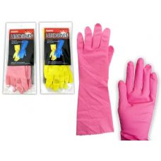 144 Units of GLOVE RUBBER SMALL PINK+YELLOW - Kitchen Gloves