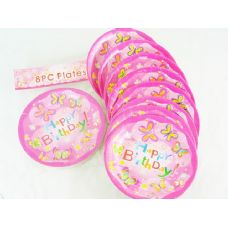 144 Units of 8 Piece 'Happy Birthday' Butterfly Print - Party Tableware