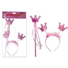 144 Units of CROWN WITH BAND PRINCESS PINK CLR - Costume Accessories
